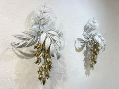 HANS KÕGL WALL LIGHTS, a pair, 1970's German, painted toleware and gilt metal, approx. 55cm x