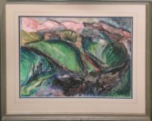 JOHN AUSTIN-WILLIAMS 'Kerry Landscape I', pastel and watercolour, 56cm x 75cm, signed with