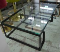 LOW TABLE, the glass top on a metal base of geometric form, 80cm D x 120cm W x 38cm H.
