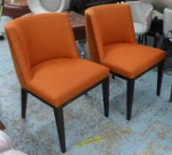 DINING CHAIRS, a set of ten, with orange velvet backs and woven orange seats, tub shaped, Linley