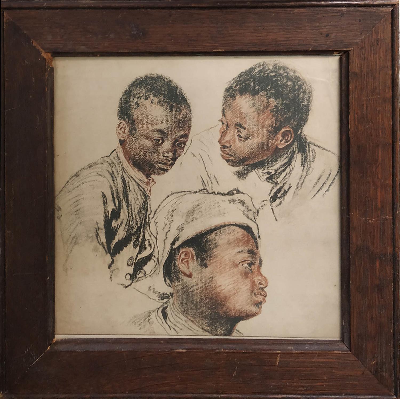 MANNER OF HENRY ALEXANDER GEORGES REGNAULT (1842-1871) 'Potraits of Black Boys', crayon, 25cm x