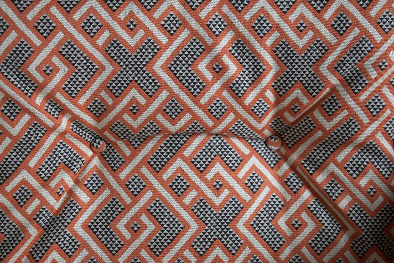 SWIVEL CHAIR, mid 20th century Swedish in Linwood peach, black and white geometric material and - Image 3 of 3