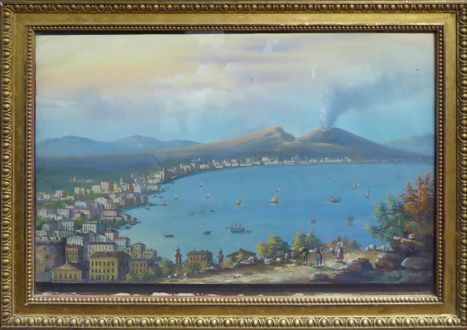 19th CENTURY ITALIAN SCHOOL 'The Bay of Naples' and 'Seafront Promenade Naples', a pair of gouaches, - Image 2 of 2