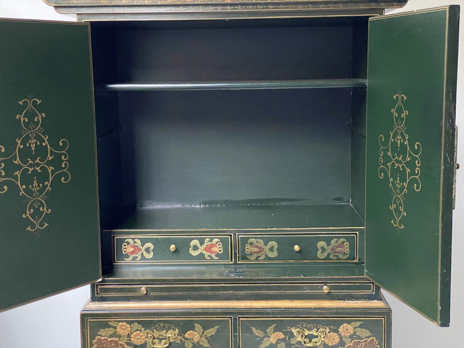 CABINET ON CHEST, 20th century dark green lacquer, gilt metal mounted and Chinoiserie decorated in - Image 5 of 9