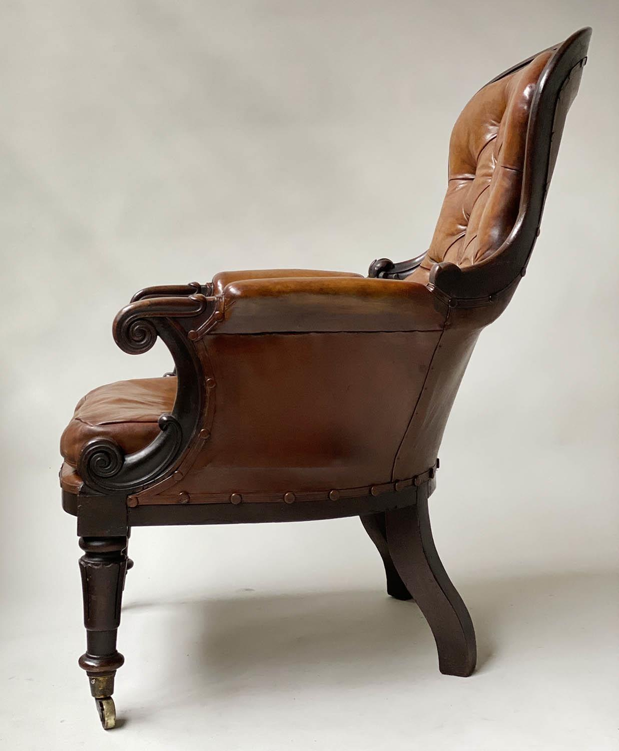 LIBRARY ARMCHAIR, early Victorian mahogany, with hand dyed tobacco brown leather, buttoned back, - Image 9 of 9