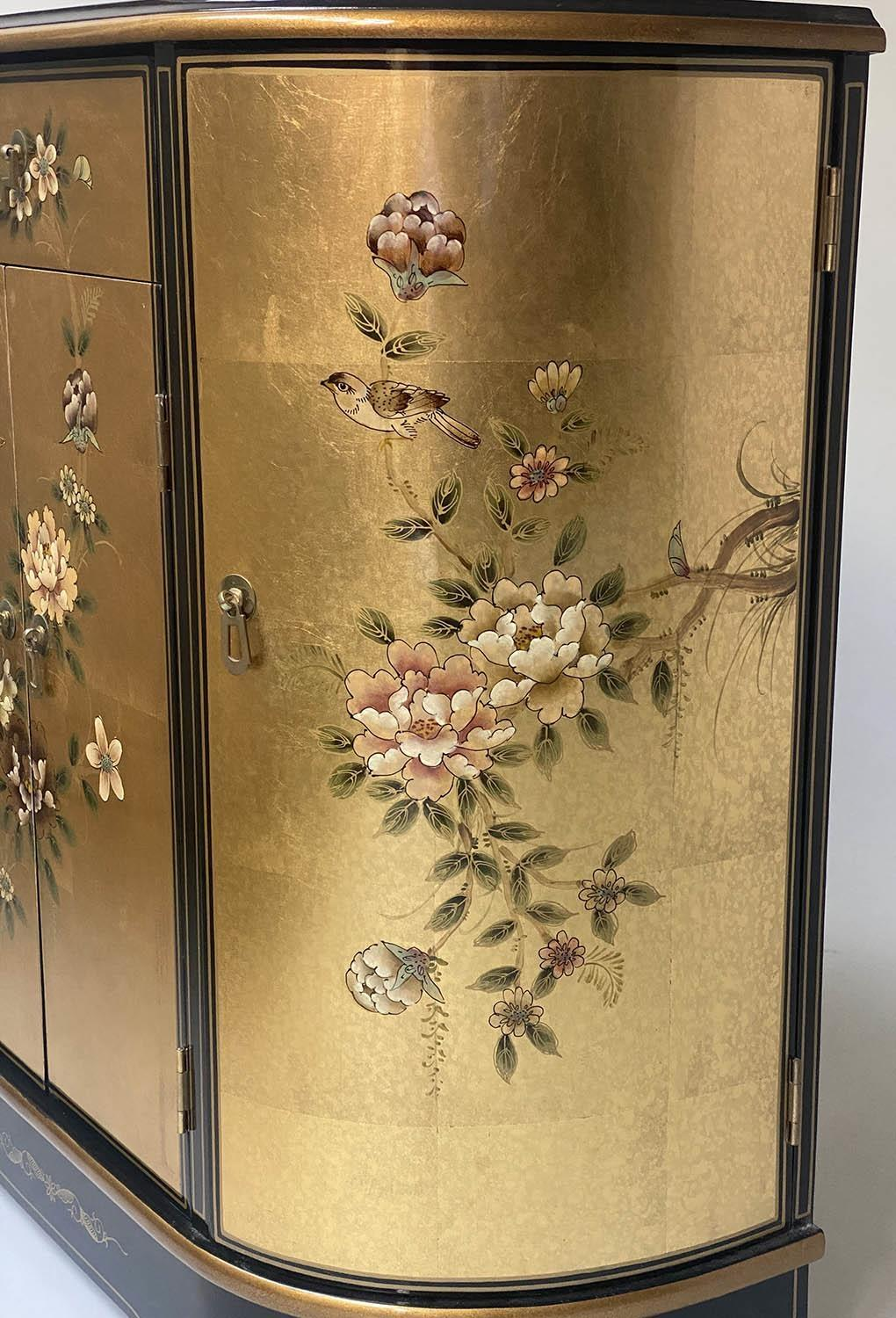 SIDE CABINET, 20th century Chinese D outline gilt lacquer and flower decorated with drawer and - Image 2 of 9