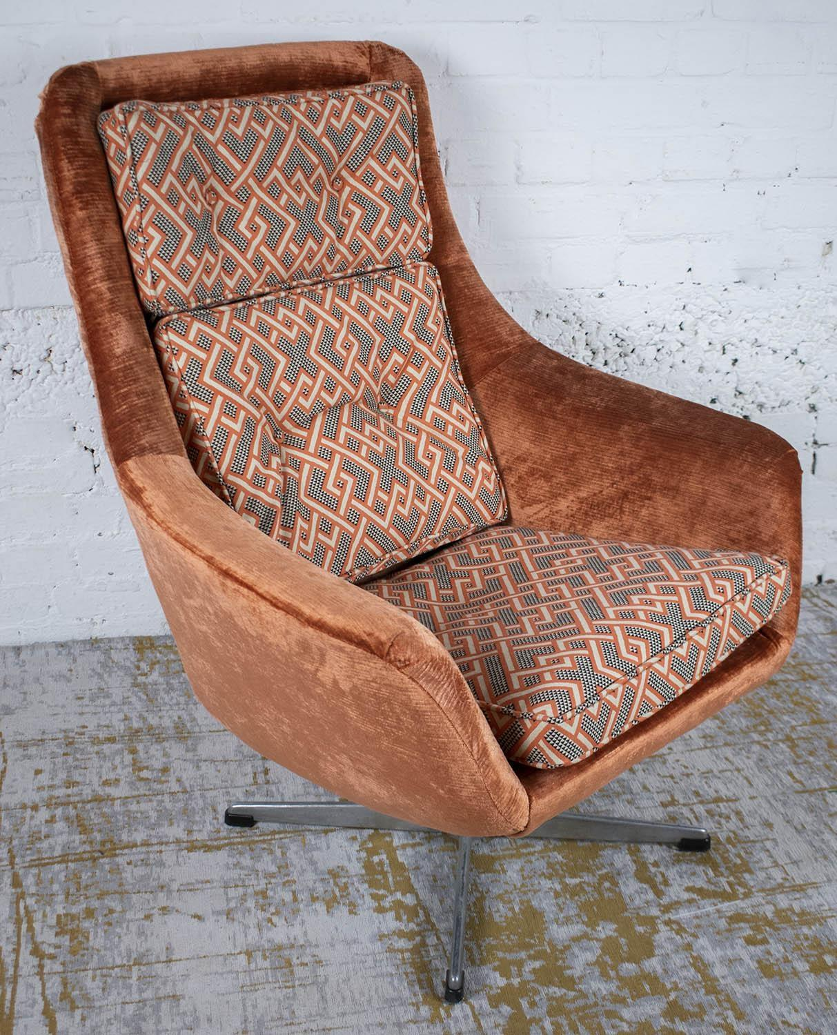SWIVEL CHAIR, mid 20th century Swedish in Linwood peach, black and white geometric material and