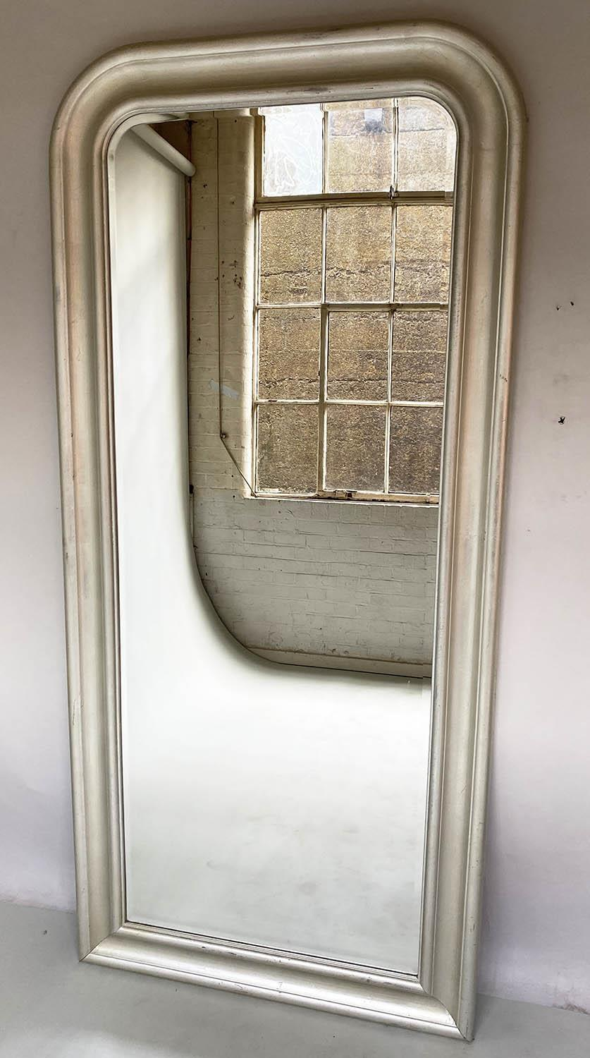WALL MIRROR, tall arched rectangular moulded silvered frame with bevelled mirror plate, 90cm x 200cm