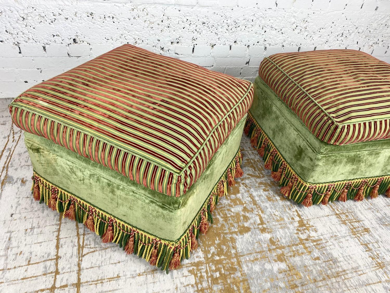 OTTOMANS, a pair, striped silk and green velvet upholstered with tasseled bullion fringes, 47cm H - Image 5 of 6