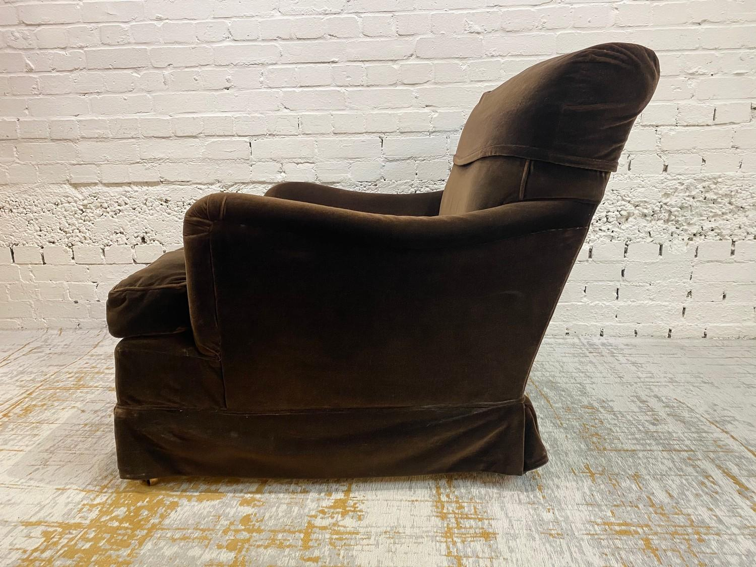 HOWARD AND SONS BRIDGEWATER ARMCHAIR, stamped 'Howard Chairs, 48 Sth Audley St London W.1 2385?, - Image 5 of 14