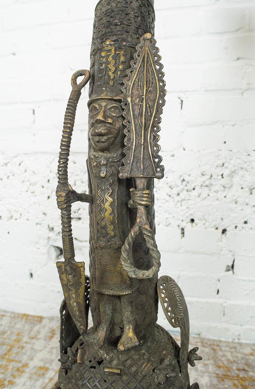 BENIN OBA BRONZE THRONE HEADS, a pair, 105cm H. (2) - Image 5 of 6