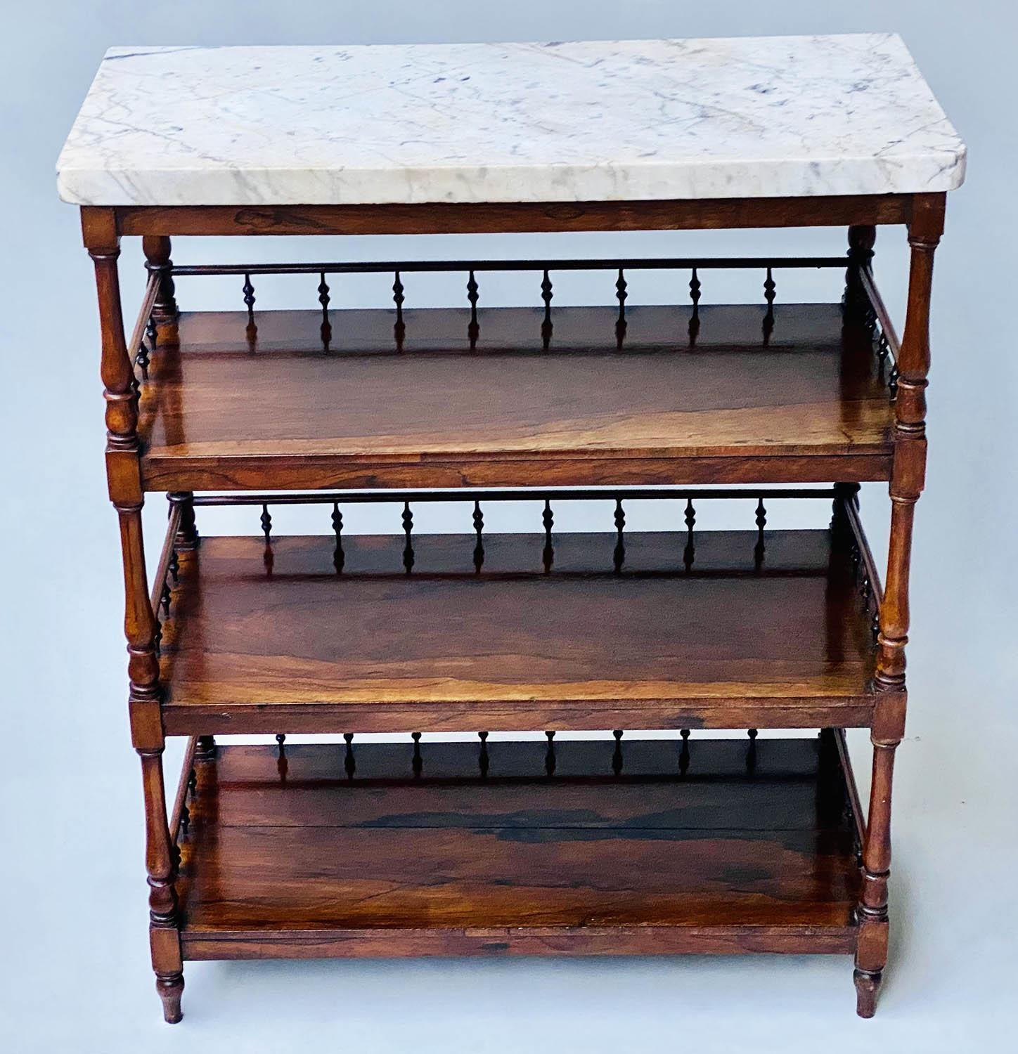 ETAGERE, early 19th century William IV rosewood with grey veined white marble top above three - Image 2 of 6