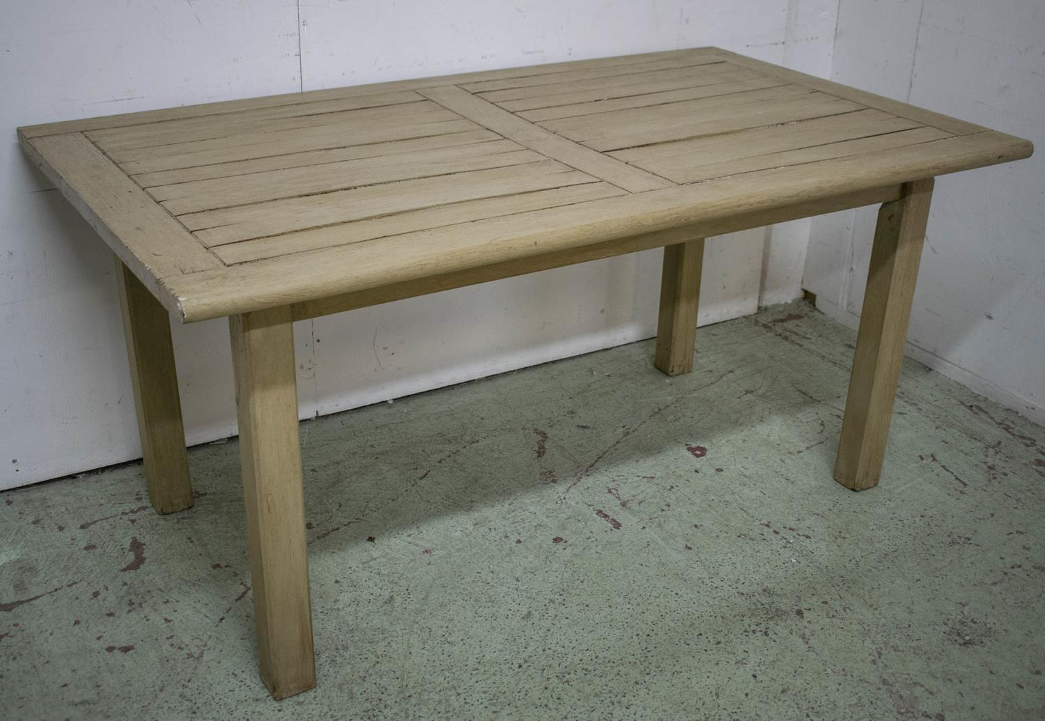 GARDEN TABLE, painted teak rectangular 72cm H x 153cm x 90cm and a set of six armchairs. (7)