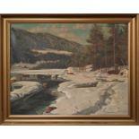 A V ROBEL (1885-1948) 'Winter Landscape', oil on canvas, 67cm x 87cm, signed and dated 1946, framed.