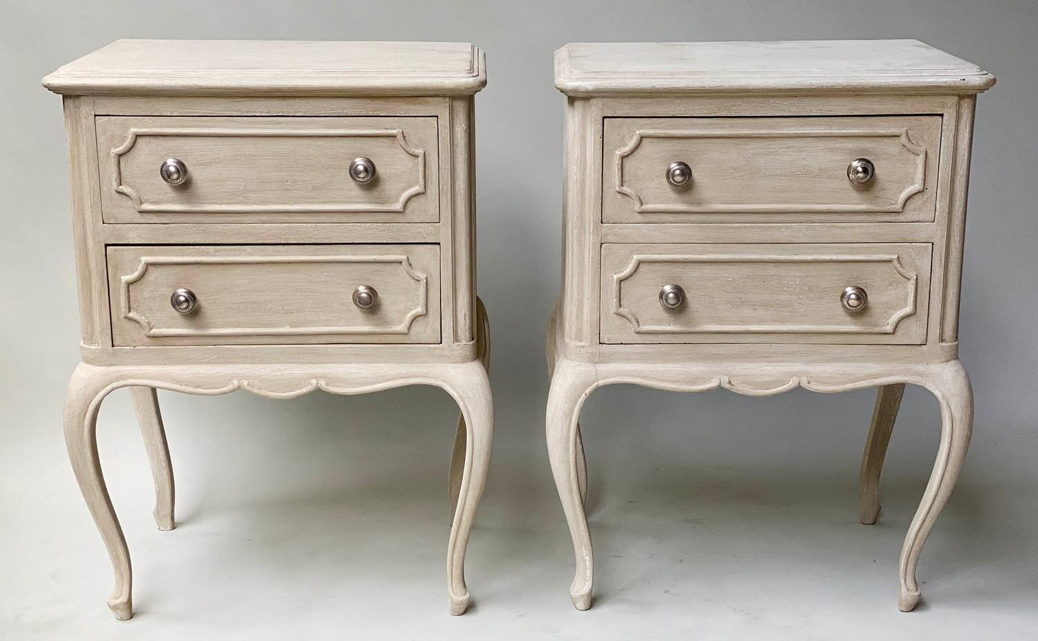 BEDSIDE CHESTS, a pair, French Louis XV design grey painted each with two drawers, 48cm x 36cm x - Image 4 of 5