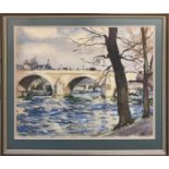 20TH CENTURY FRENCH SCHOOL 'Seine River View, Paris', watercolour, indistinctly signed and dated,