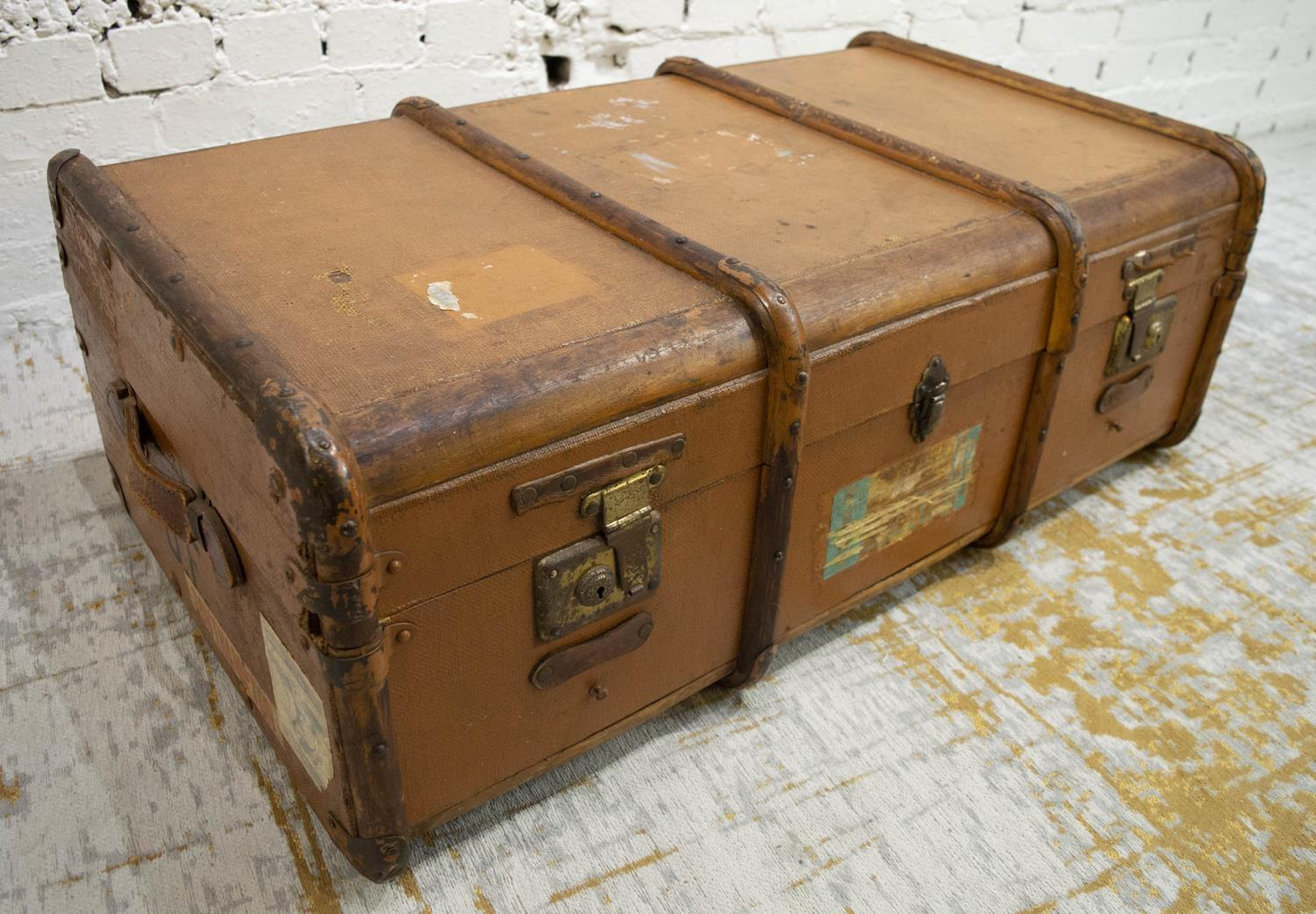 TRUNK, early 20th century canvas and bentwood with brass studs and mounts, bears original luggage - Image 4 of 10