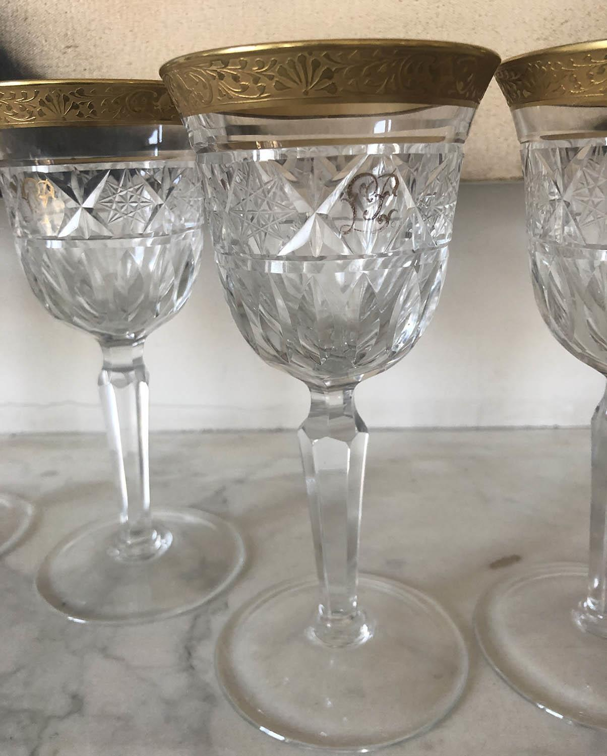 GLASSWARE, eight cut crystal patterned gilded tops, two sets of four, 18cm H and 16cm H. (8) - Image 2 of 4