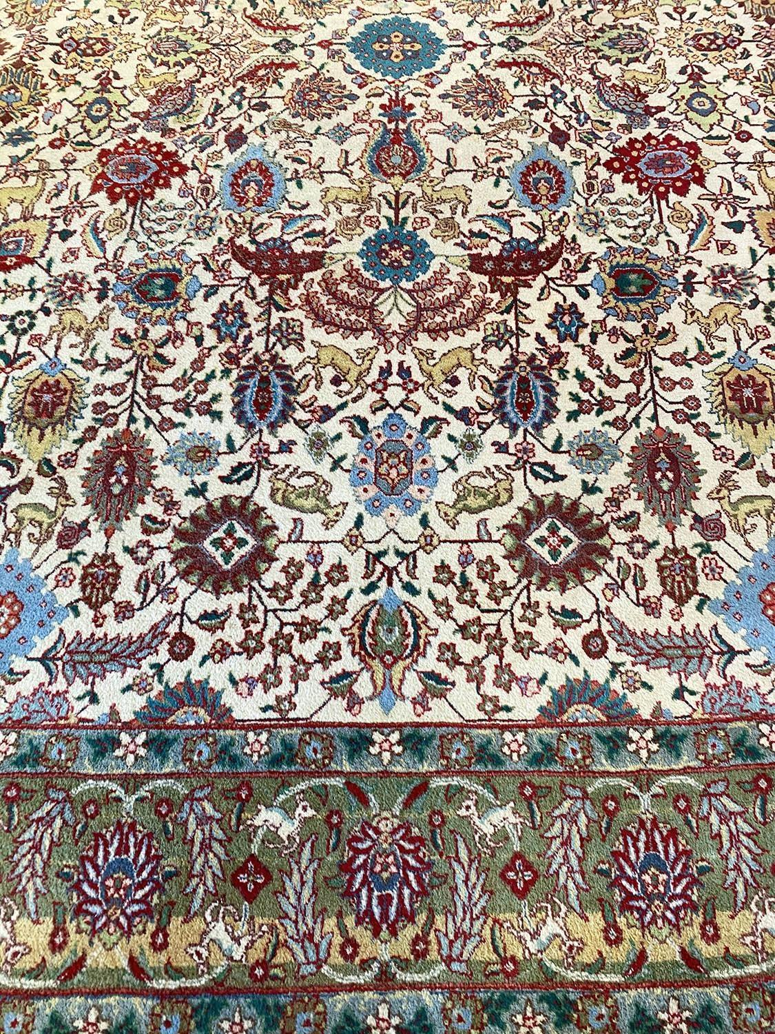FINE PERSIAN TABRIZ CARPET, 387cm x 288cm, all over palmette and vine design with deer motifs within - Image 5 of 5