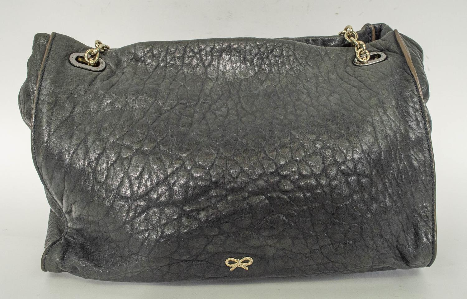ANYA HINDMARCH SHOULDER BAG, leather with leather and chain strap, gun metal and silver hardware, - Image 3 of 9