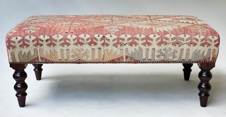 GEORGE SMITH KELIM HEARTH STOOL, rectangular antique kelim upholstered with solid mahogany turned - Image 9 of 9