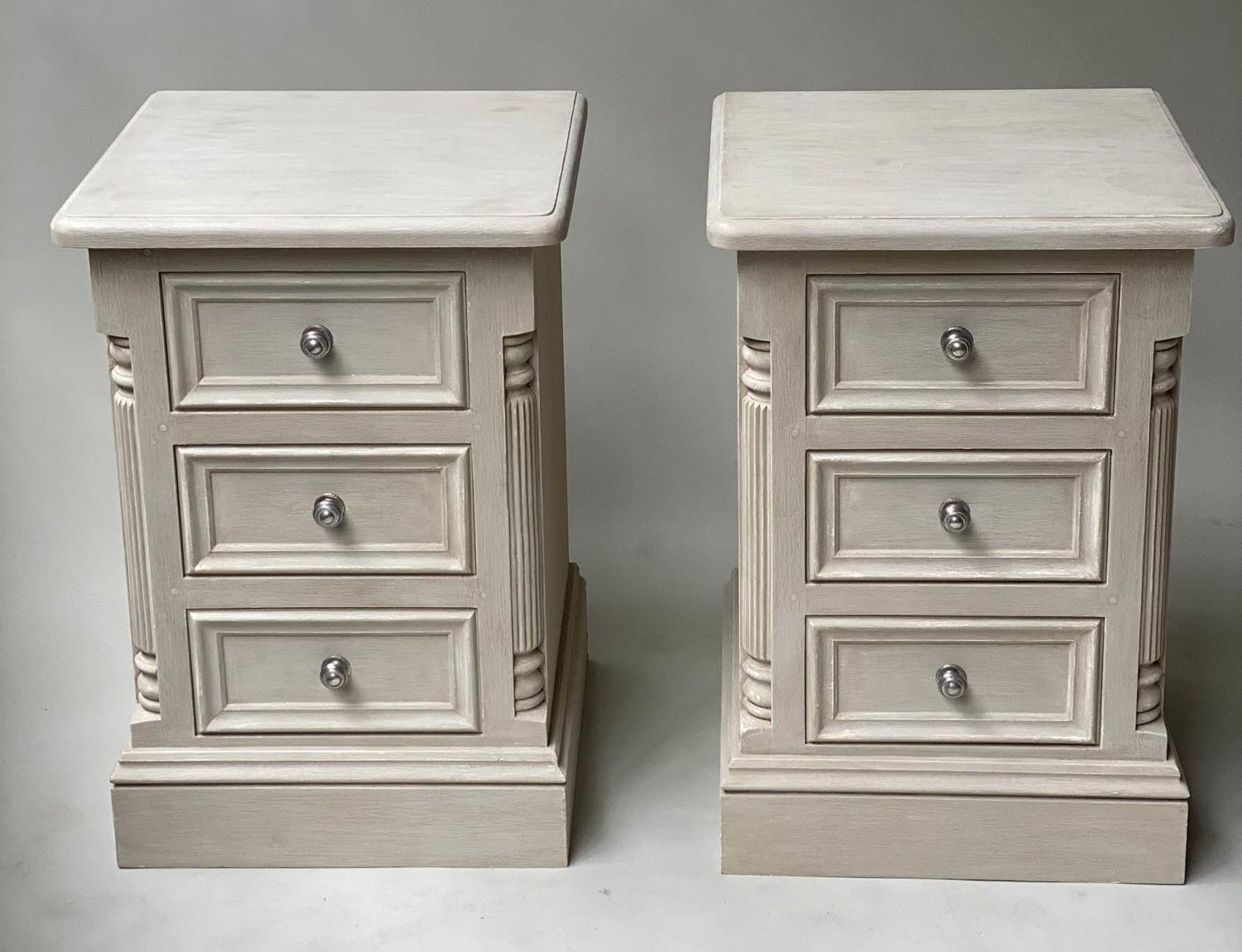 BEDSIDE CHESTS, a pair, French style grey painted, each with three drawers, 49cm x 47cm x 76cm H. ( - Image 6 of 7