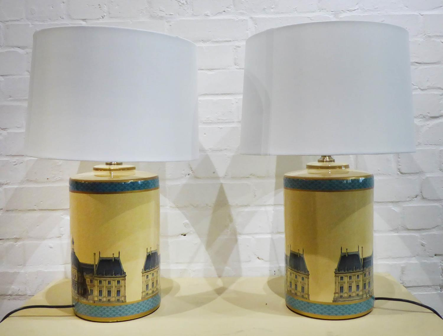 TABLE LAMPS, a pair, with shades, Loure print detail, 64cm H. (2)