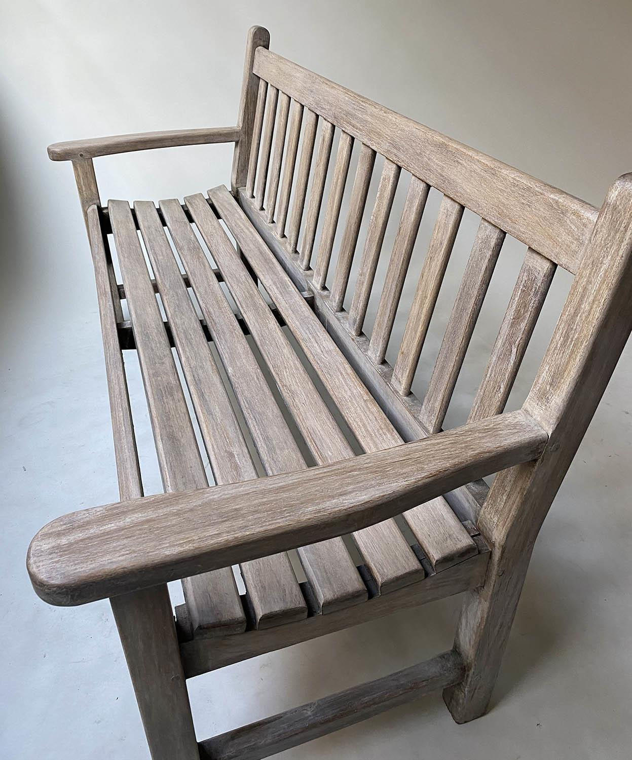 GARDEN BENCH, weathered teak of slatted construction with flat top arms, 160cm W. - Image 2 of 6