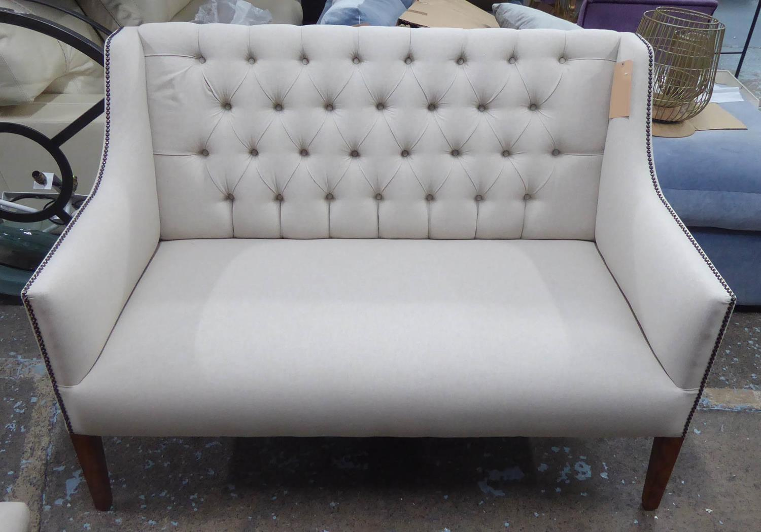 SOFA, contemporary buttoned back finish, neutral upholstery, 131cm W. - Image 2 of 5