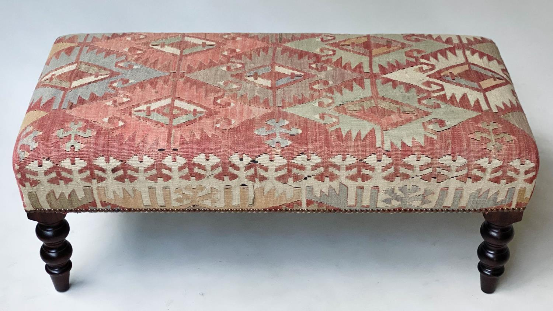 GEORGE SMITH KELIM HEARTH STOOL, rectangular antique kelim upholstered with solid mahogany turned