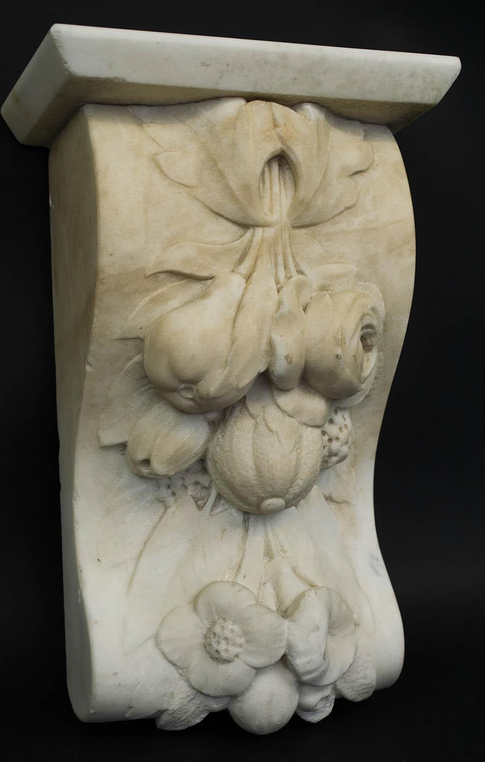 CORBELS, a pair, Victorian carved marble, of flowers and fruit, 30cm H x 18cm W. (2) - Image 5 of 6
