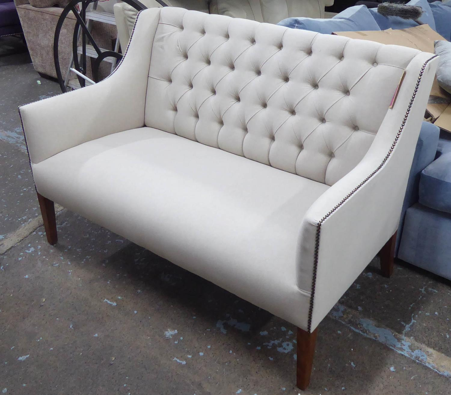 SOFA, contemporary buttoned back finish, neutral upholstery, 131cm W.