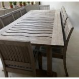 GARDEN SUITE, silvery weathered teak bespoke made with wavy slatted table on turned gun barrel style