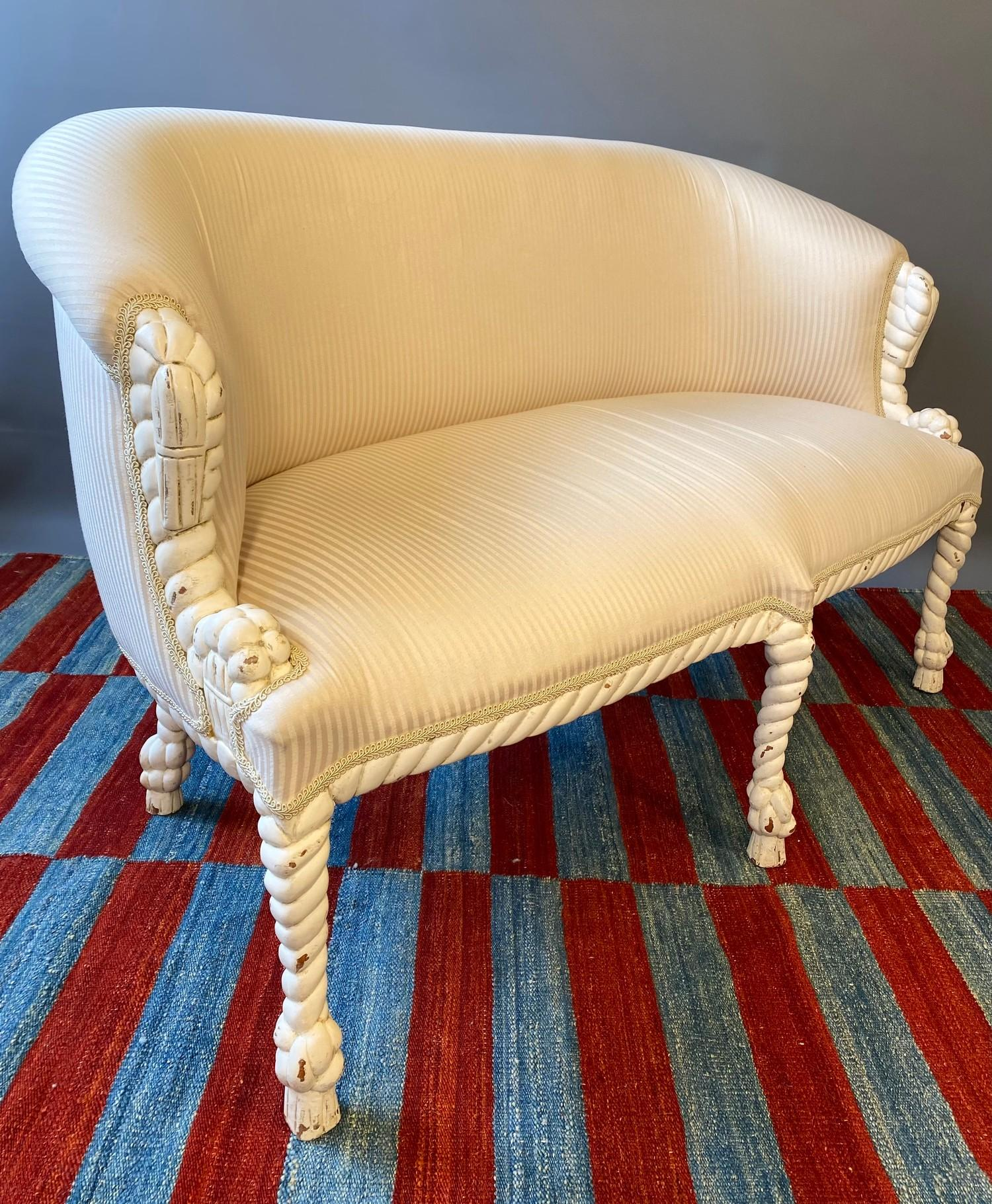 CANAPE, in the manner of A.M.E. Fournier, 20th century French painted carved rope twist frame with - Image 2 of 6
