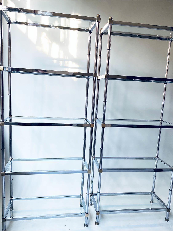 CHROME SHELVES, a pair, chrome frame with rectangular glass shelves each with five shelves, 78cm x