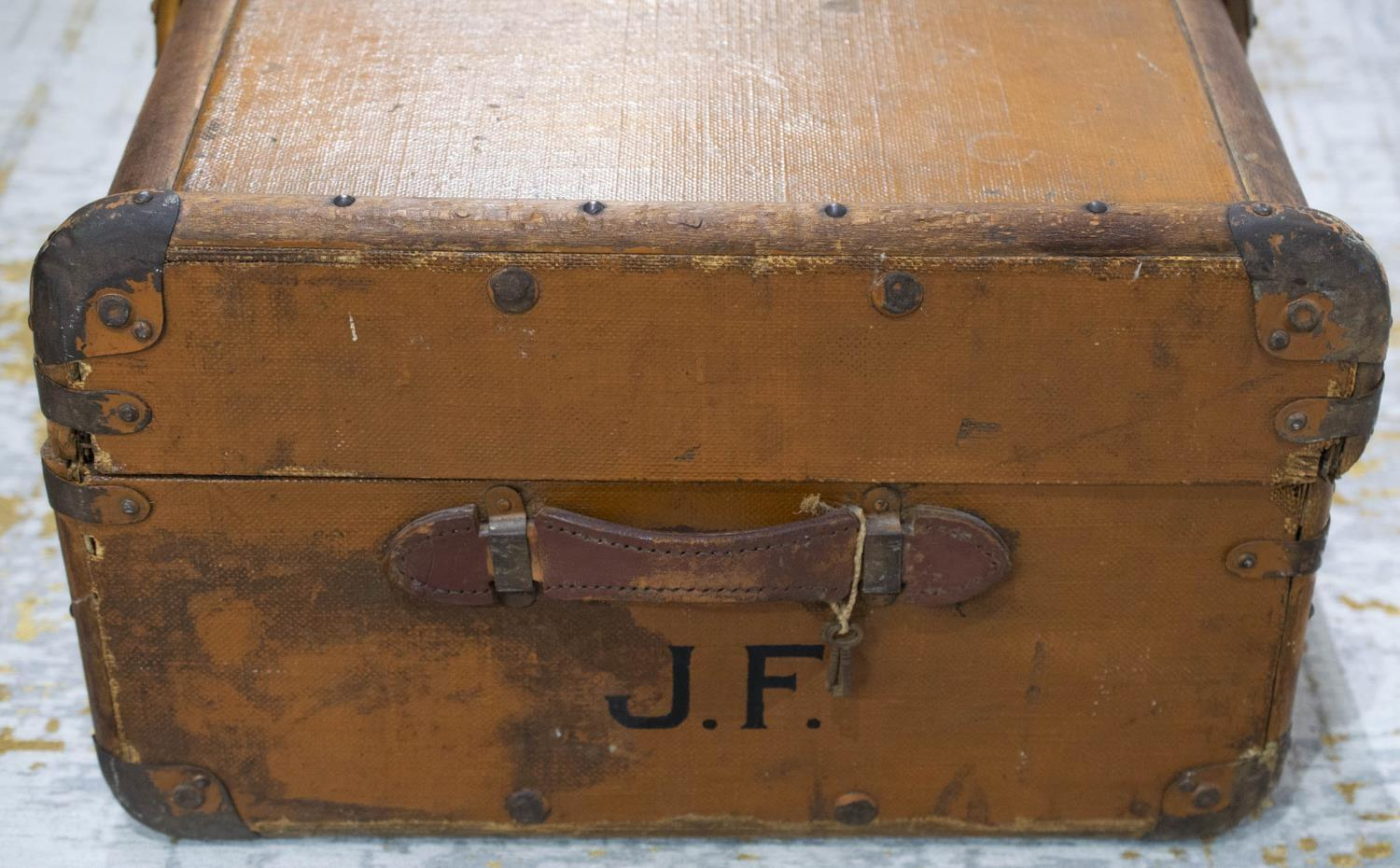 TRUNK, early 20th century canvas and bentwood with brass studs and mounts, bears original luggage - Image 10 of 10