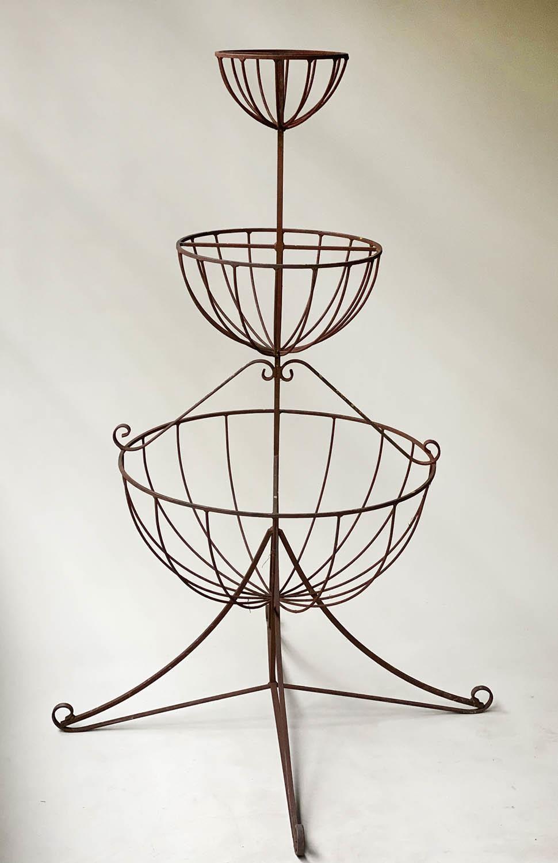 PLANT STAND, circular wrought iron three tier circular graduated basket form, 112cm x 166cm H.