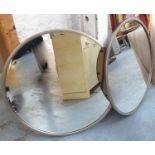 CIRCULAR WALL MIRROR, a pair, contemporary silvered frames, 80cm diam. (2)