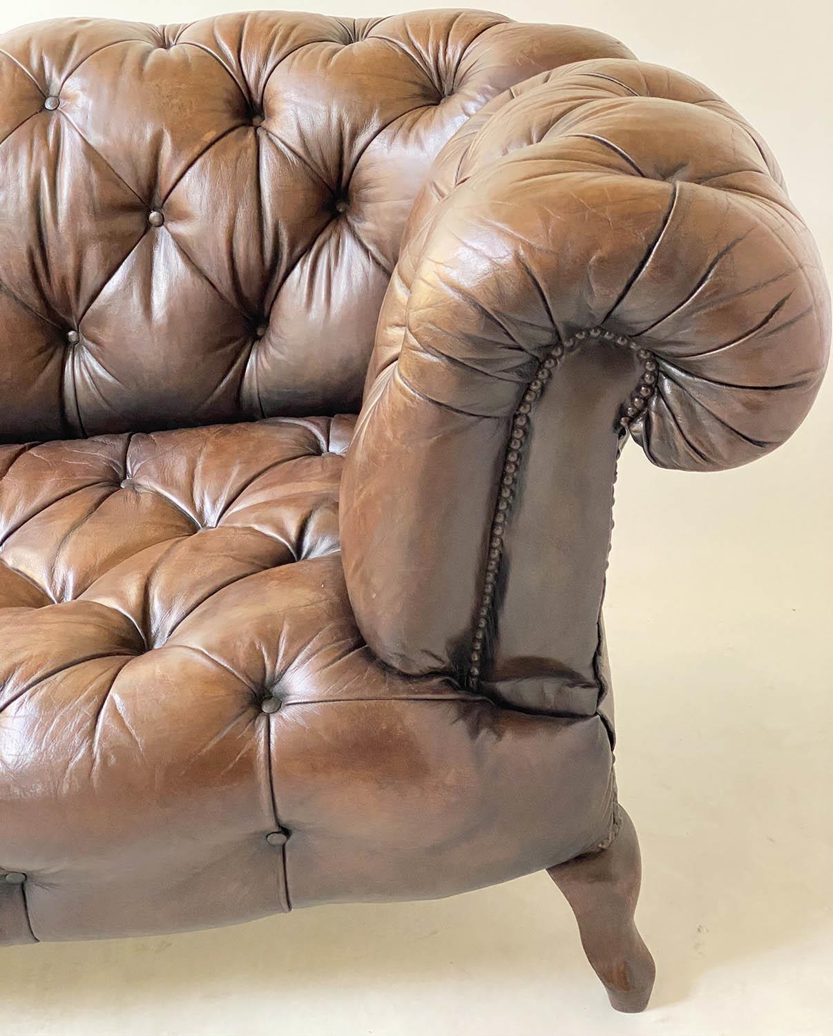 CHESTERFIELD SOFA, early 20th century Edwardian aged and faded brown leather with horsehair buttoned - Image 4 of 10