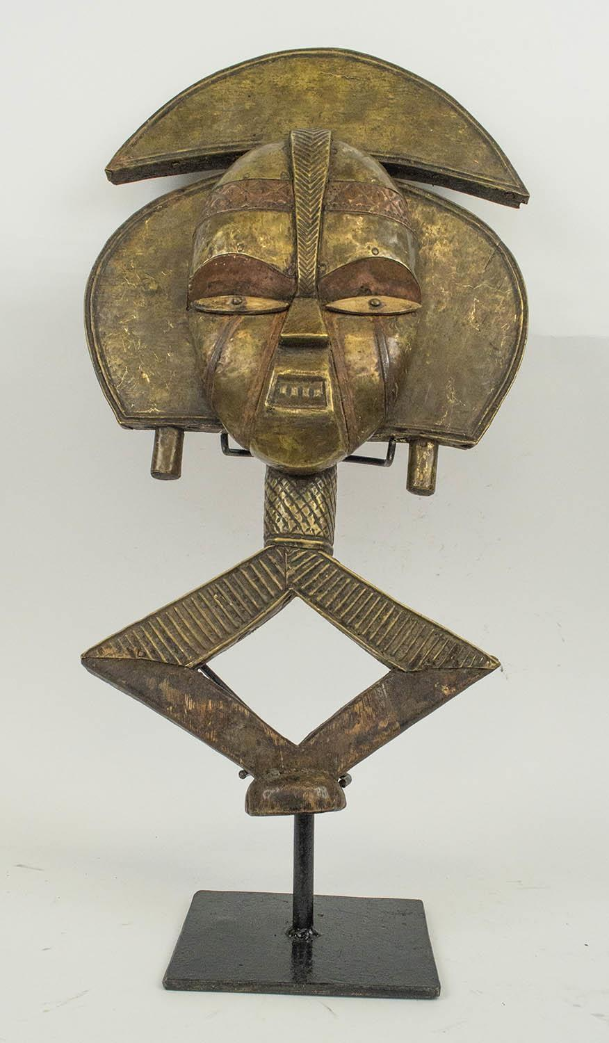 BAKOHA RELIQUARY FIGURE, from Gabon wood, copper and brass, 60cm H.