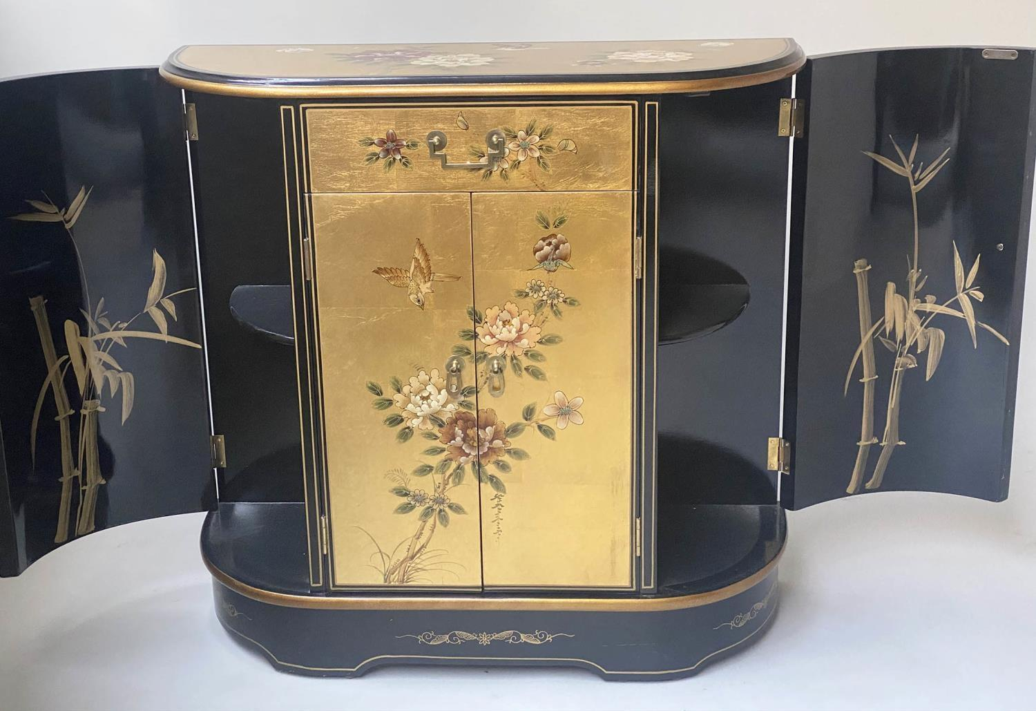 SIDE CABINET, 20th century Chinese D outline gilt lacquer and flower decorated with drawer and - Image 6 of 9