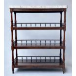 ETAGERE, early 19th century William IV rosewood with grey veined white marble top above three