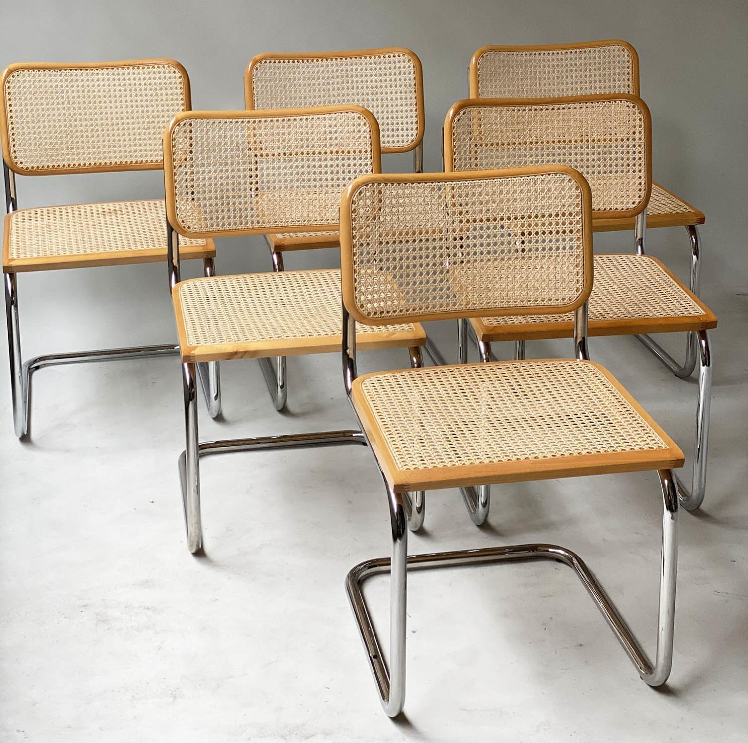 AFTER MARCEL BREUER DINING CHAIRS, Cesca style chairs, a set of six beech wood cane paneled and - Image 11 of 11