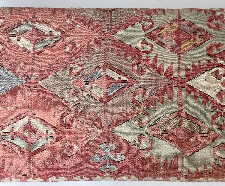 GEORGE SMITH KELIM HEARTH STOOL, rectangular antique kelim upholstered with solid mahogany turned - Image 7 of 9