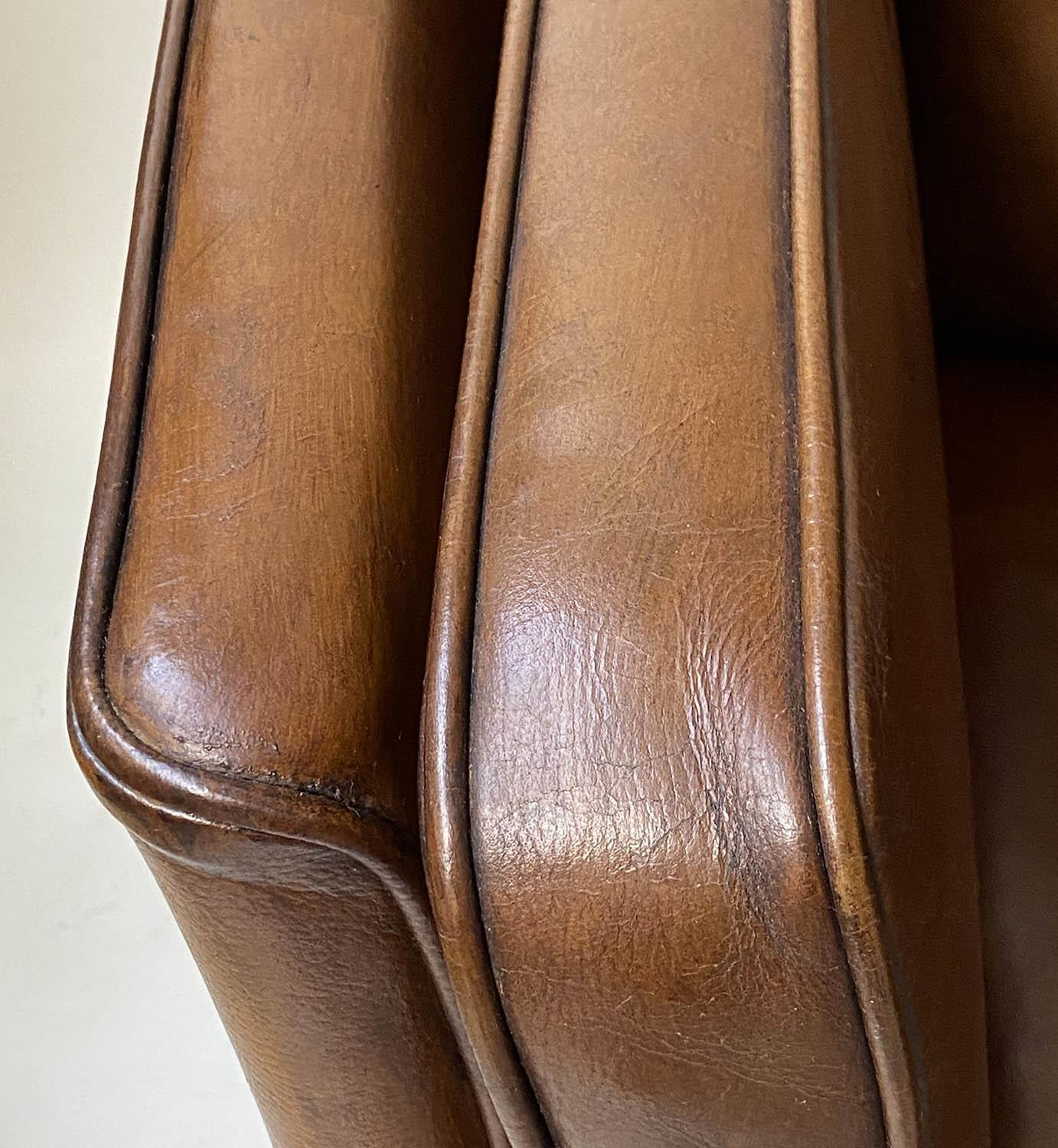 SOFA, teak, 1970's Danish style grained tan leather with two cushion seat and back, 150cm W. - Image 2 of 5