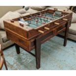 TABLE FOOTBALL, vintage 20th century, polychrome players, with balls, 148cm x 100cm x 97cm.