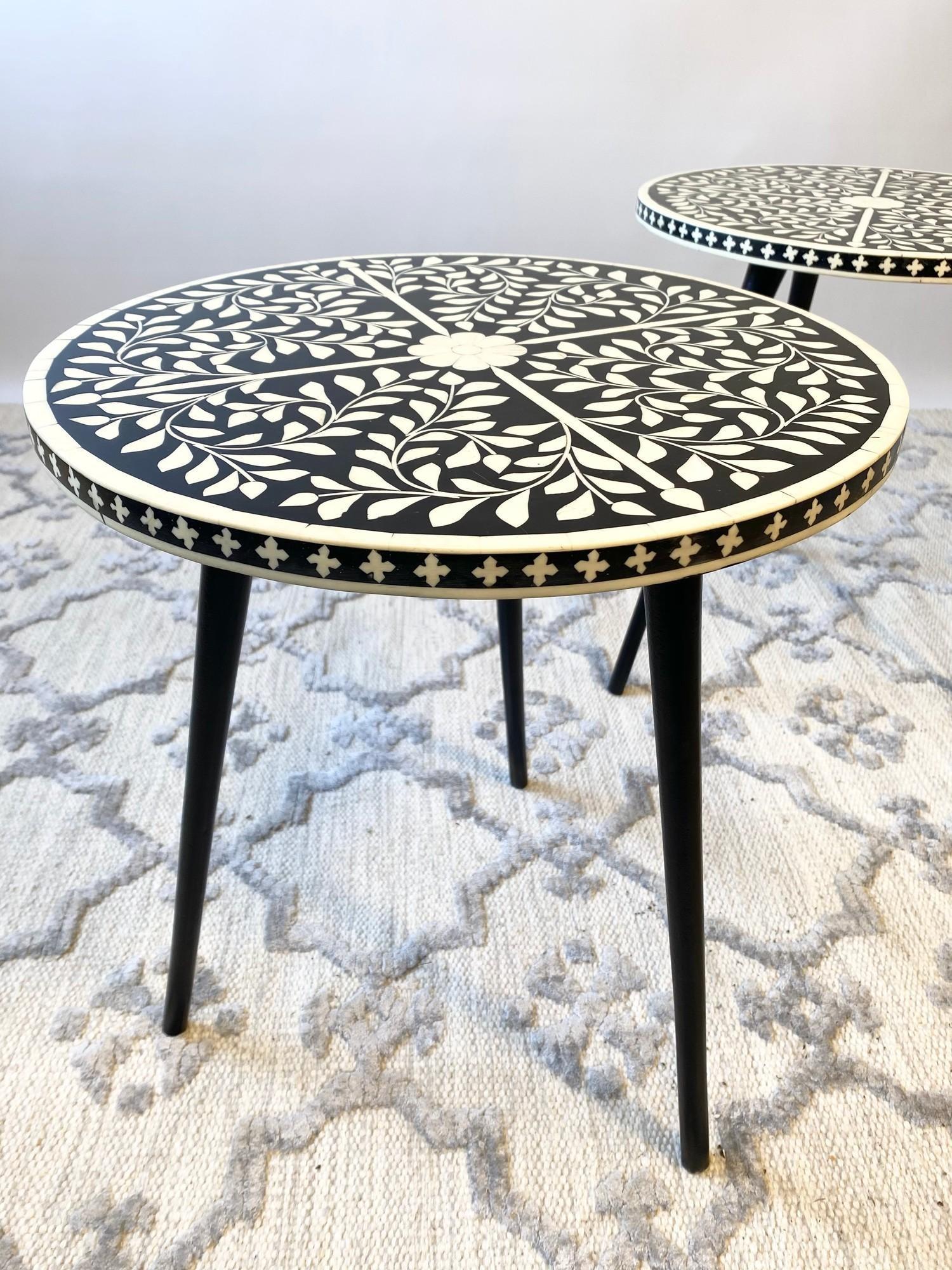 LAMP TABLES, a pair, Moorish design inlaid tops on tripod metal legs, 47cm H x 41cm x 41cm. (2) - Image 3 of 5