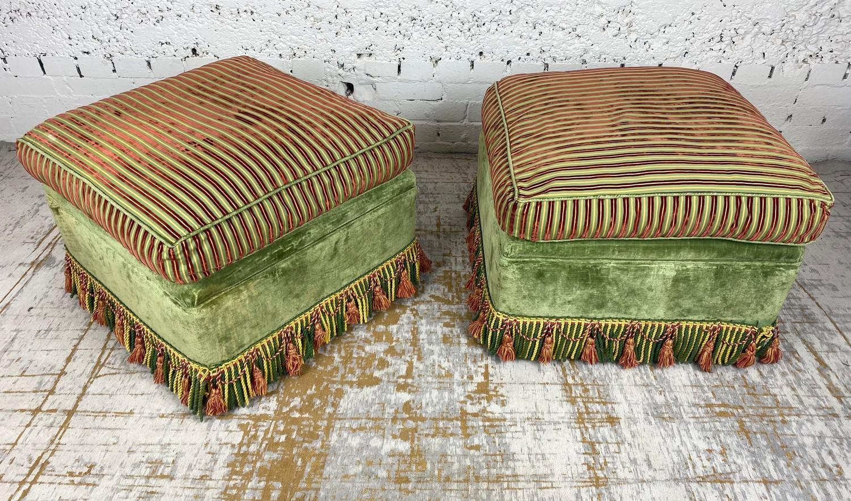 OTTOMANS, a pair, striped silk and green velvet upholstered with tasseled bullion fringes, 47cm H - Image 2 of 6