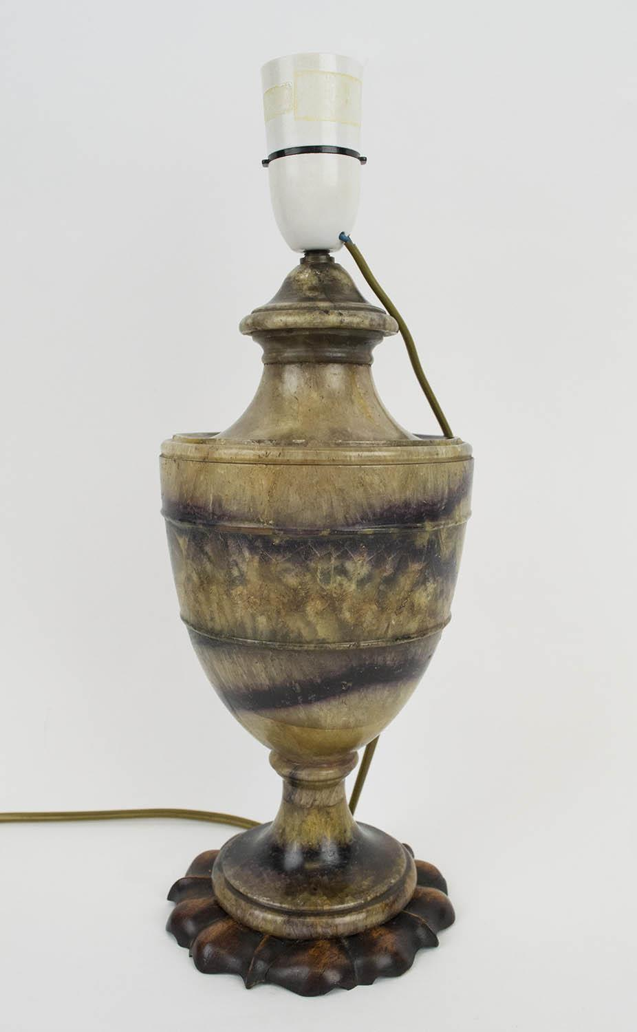 BLUE JOHN URN, late 18th century converted to a lamp, the fluorite Derbyshire spar with familiar - Image 2 of 7