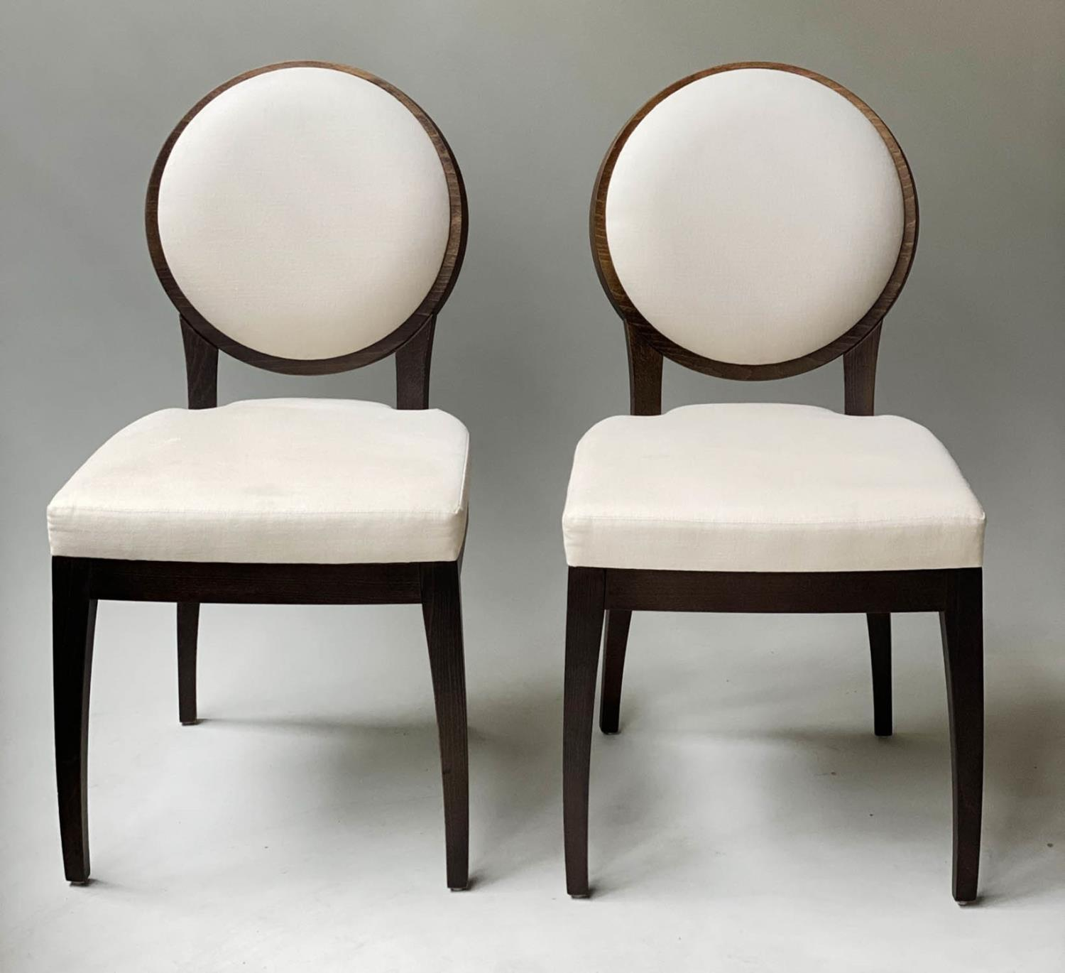 BEDROOM CHAIRS, a pair, contemporary white cotton oval with oak veneered frames, 50cm W. (2)